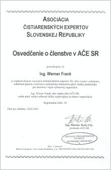 CERTIFICATE OF MEMBERSHIP IN WATER EXPERTS ASSOCIATION OF SR